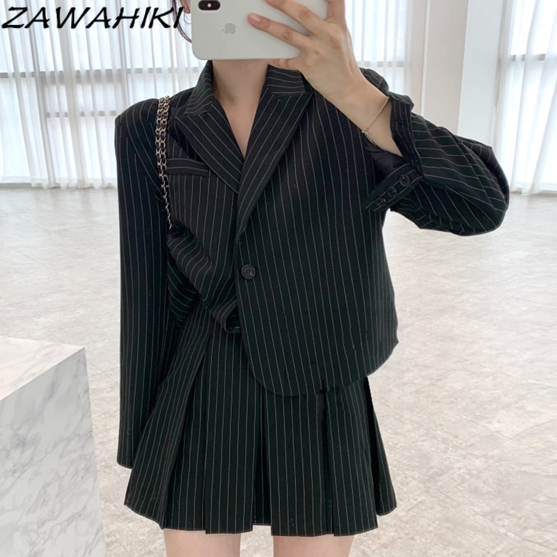 ZAWAHIKI Vintage Notched Neck Striped Two Buttons Long Sleeve Jacket Fashion High Waist Pleated Mini Skirt Autumn Suit Women