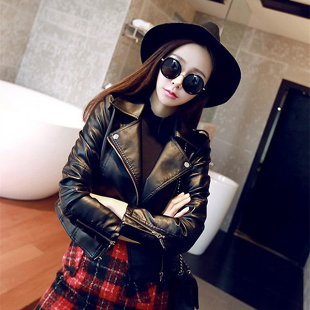 Leather clothing women short garb Korean version of the slim pink pu coat motorcycle leather jacket ladies coat jielur autumn winter leather jacket women black zipper short coat slim korean pu kpop leather clothing mujer coat 2019 new s xl