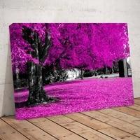 Affiche dart mural sur toile avec image de paysage darbre violet moderne  1 panneau  sans cadre  pour salon  chambre a coucher  bureau