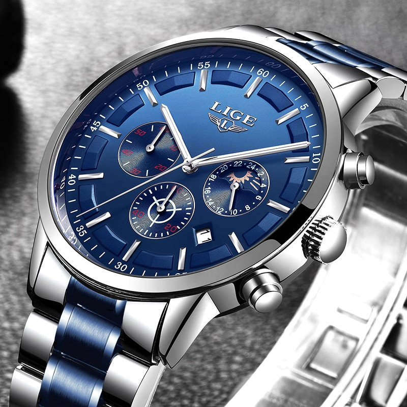 LIGE men's watches top brand luxury chronograph waterproof watch army men's sports watch quartz wristwatch relogio masculino + b
