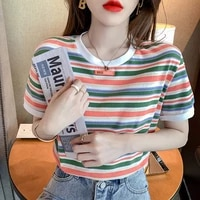 rainbow striped short sleeved t shirt womens new printed summer round neck cotton ins tide short thin top half sleeved t shirt