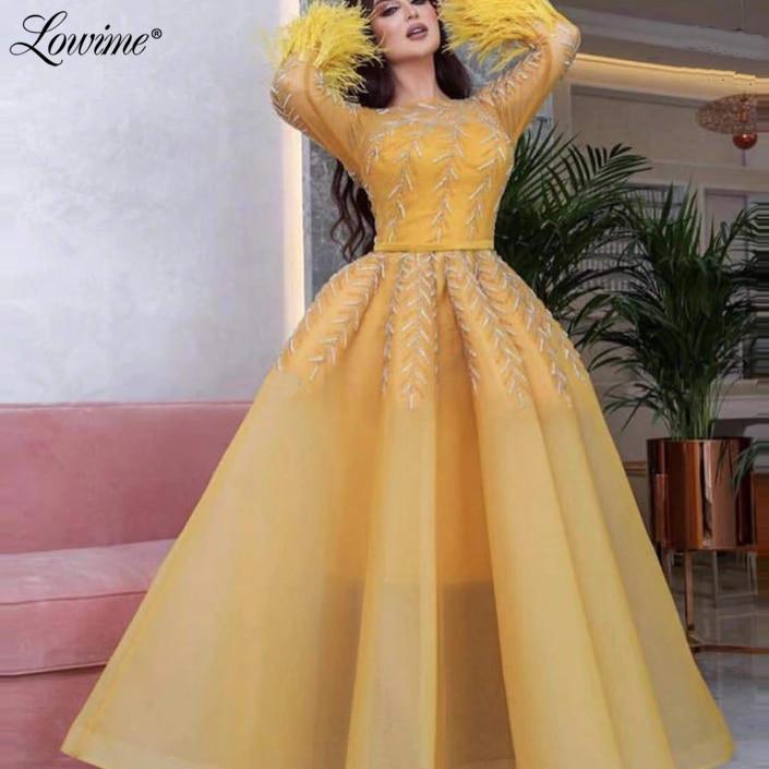 Formal Dress Saudi Arabia Evening Gown Feather Long Sleeves Custom Made Vestido Festa Longo Prom Dresses Abendkleider 2020