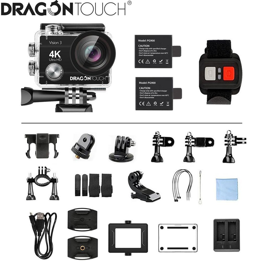 Dragon Touch 4K Action Camera 16MP Vision 3 Underwater Waterproof Camera 170 ° Wide Angle WiFi Sports Camera with Remote Control enlarge