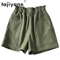 tajiyane streetwear women real sheepskin shorts female genuine leather shorts woman cloth casual trousers ropa mujer tn2305