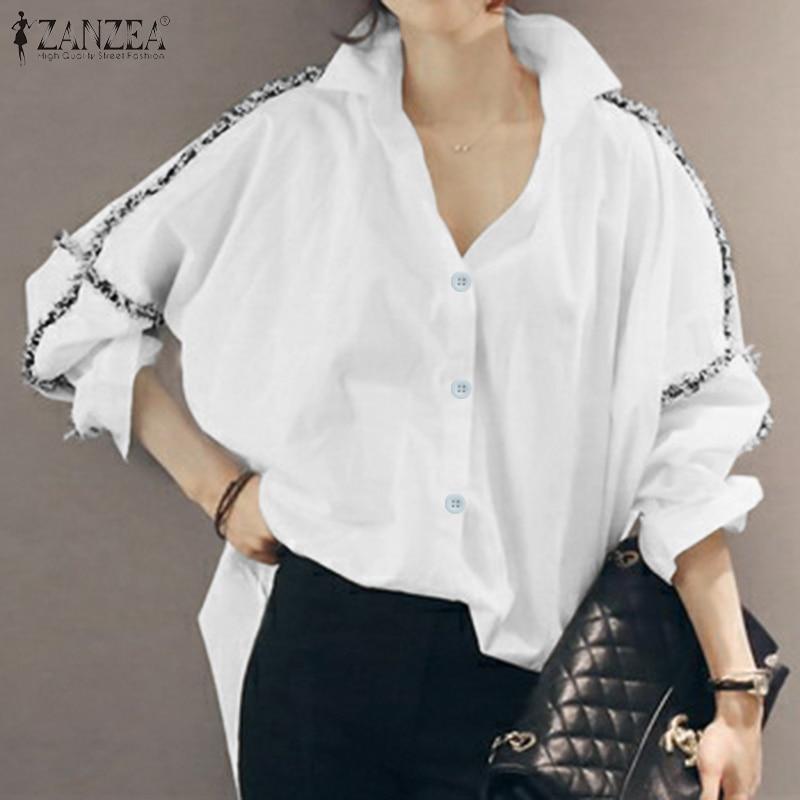 ZANZEA Women Patchwork Blouses 2020 Fashion Elegant Lady Long Sleeve Tops Shirts Work Office Buttons Down Cotton Tunic Plus Size