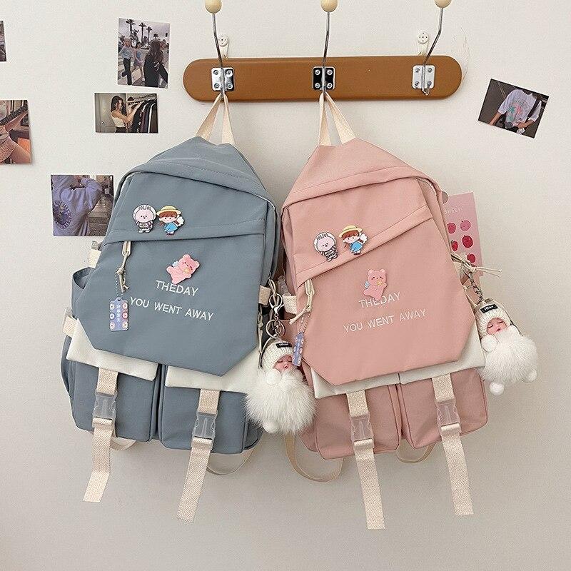 Милые женские рюкзаки для девочек, водонепроницаемые школьные ранцы для учеников, женские дорожные рюкзаки в корейском и японском стиле, но...