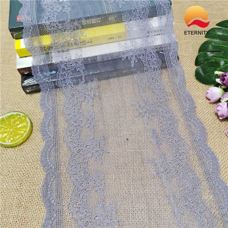 E2845-1*22CM Lace elastic lace fabric ribbon for fabric wedding elastic lace decoration white large edge