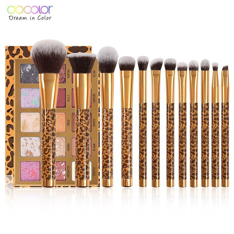 Docolor 12 pçs pincéis de maquiagem conjunto e 15 cores fosco shimmer paleta de sombra compõem paleta profissional leopardo coleção