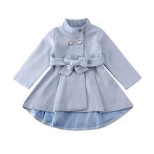 1-5Y Kleinkind Kind Baby Mädchen Mantel Herbst Winter Warme Windjacke Bogen Outwear Mantel Regenmantel Schneeanzug Solide Blau