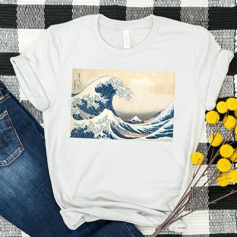 So It Is Ocean The Great Wave Женская футболка Летняя футболка с рисунком из мультфильма футболки с принтом Графический Топ Kawaii футболка с коротким рука...
