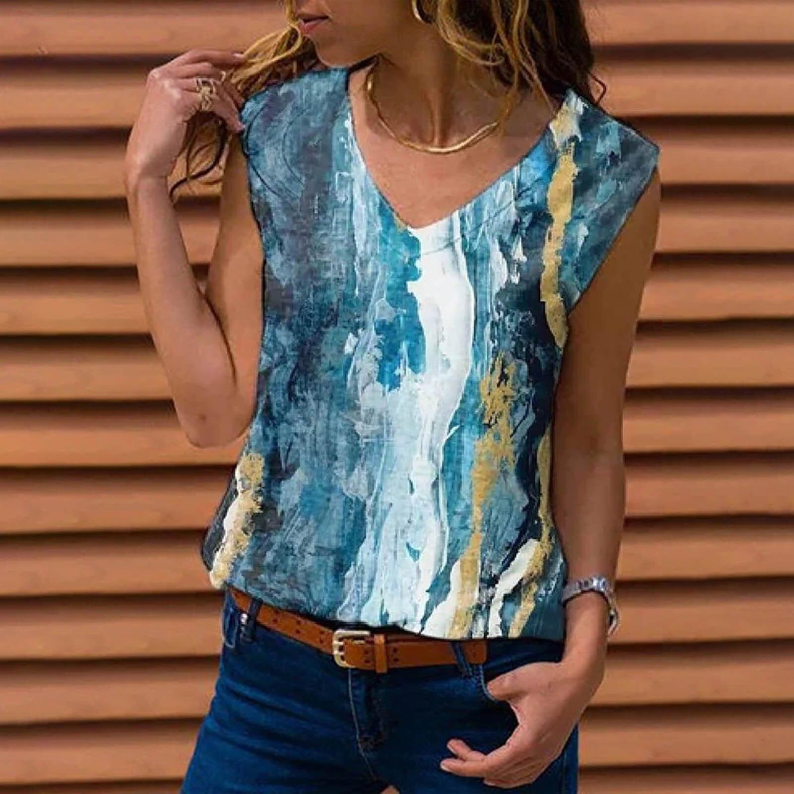 Camiseta Sin Mangas con cuello en V para Mujer, Top holgado, n....