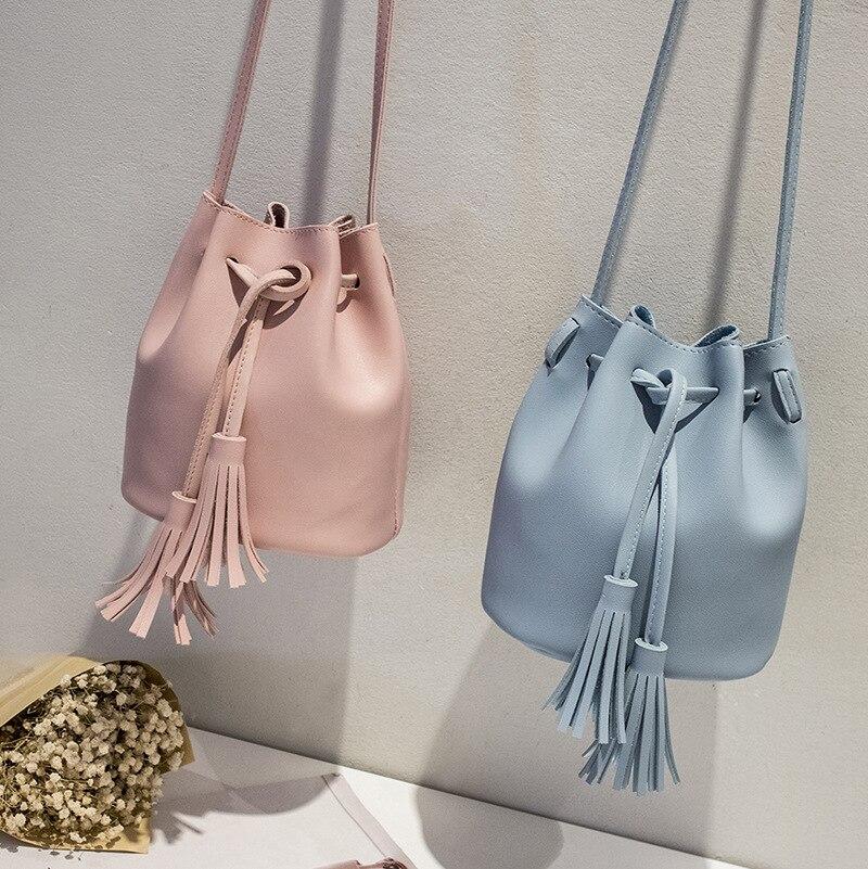 Women 2019 New Small Bag Fashion Tassel Rope Bucket Bag Pu Shoulder Bag Messenger Bag