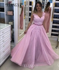 2020  Vestidos Pink Evening Dresses A-Line Embroidery Beaded Long Formal Evening Party Gowns Evening Dress abendkleider