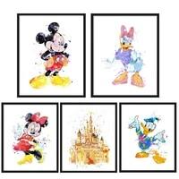 Peinture sur toile de chateau Disney Mickey Mouse et Donald Duck  affiche de dessin anime  tableau dart mural imprime pour chambre denfants  decoration de maison