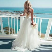 Verngo a-ligne Robe De mariée Simple Tulle été Robe De mariée plage robes De mariée élégante Robe longue Robe De Mariee