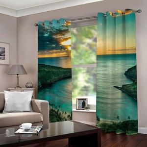 Modern Home Decor Window Curtains beautiful lake scenery Curtains For Kitchen Door Decor Beautiful 3D Drapes Cortinas