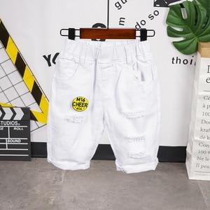 Summer Boys Active Shorts Children Cotton Elastic Waist Pants Toddler Kids Knee Length Pants white Color Baby Boys Clothes 2-7Y