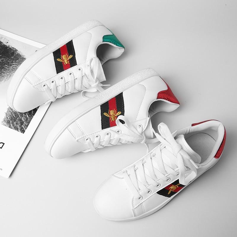 Zapatos informales con cordones blancos a la moda, zapatillas de deporte para niñas, calzado de marca a juego con abeja bordada, zapatos transpirables para correr 36-40