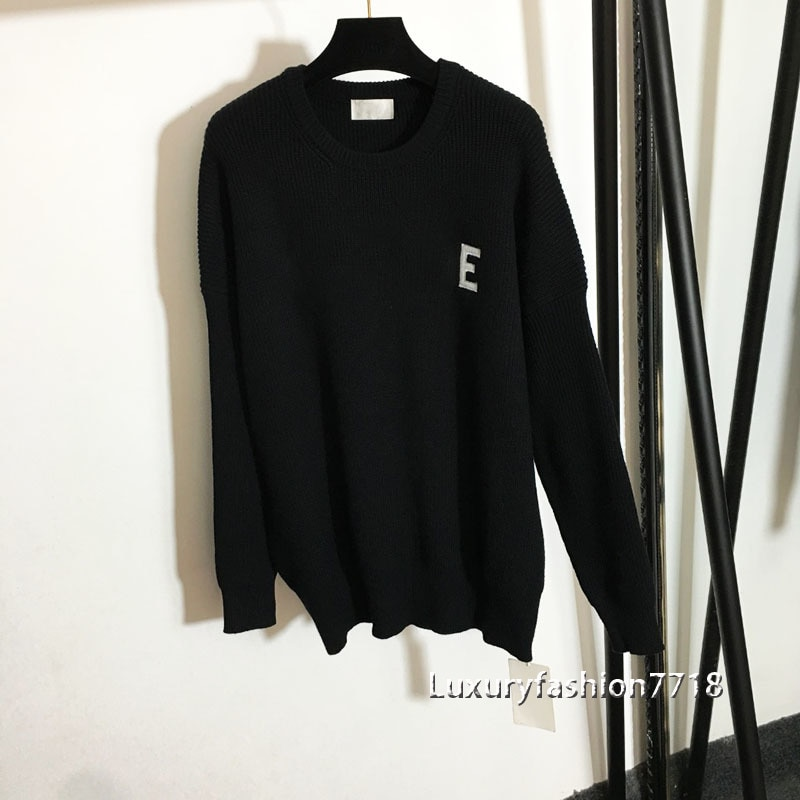 Autumn high end fashion pullover sweater for women Embroidered letter logo brand long sleeve crew neck knitting Jumpers Sweaters enlarge