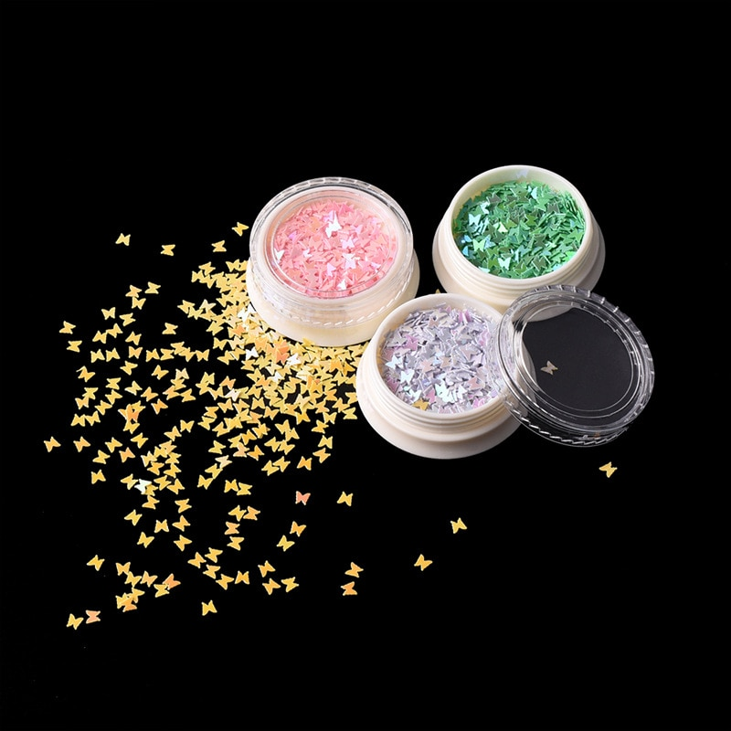 3D Glitter Mix Color Butterfly Flake Manicure Nail Sequins Nail Decoration Sparkly Slices Nail Arts Accessory Epoxy Resin Filler