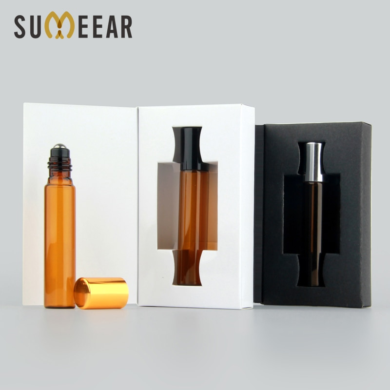 Caja de embalaje de Mini botella de Perfume de cristal ámbar de 10ml, 50 unidades por lote, frasco de aceite esencial, frasco de muestra de Perfume vacío