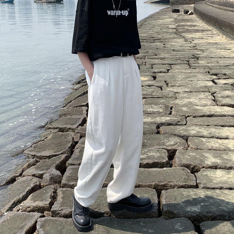 Лето мешковатые штаны белые джинсы мужские модные повседневные широкие джинсы для мужчин Уличная свободные хип-хоп прямые джинсовые брюки ...