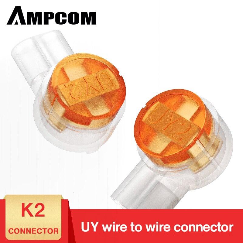 AMPCOM 100PCS Rj45 Connector Crimp Connection Terminals K2 Connector Waterproof Connectors K2 Network Cable Terminals