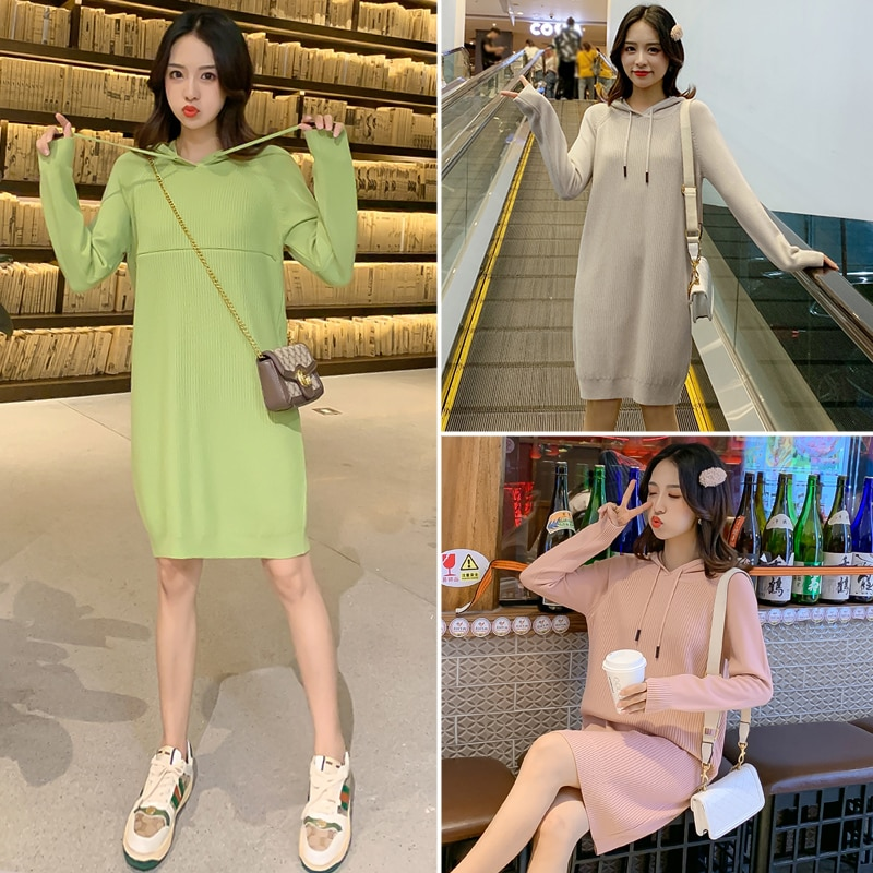 Pregnancy Dress Autumn Winter Pregnant Clothes Maternity Sweater Nursing Sweater Hooded Breastfeeding Top Long Sleeve enlarge
