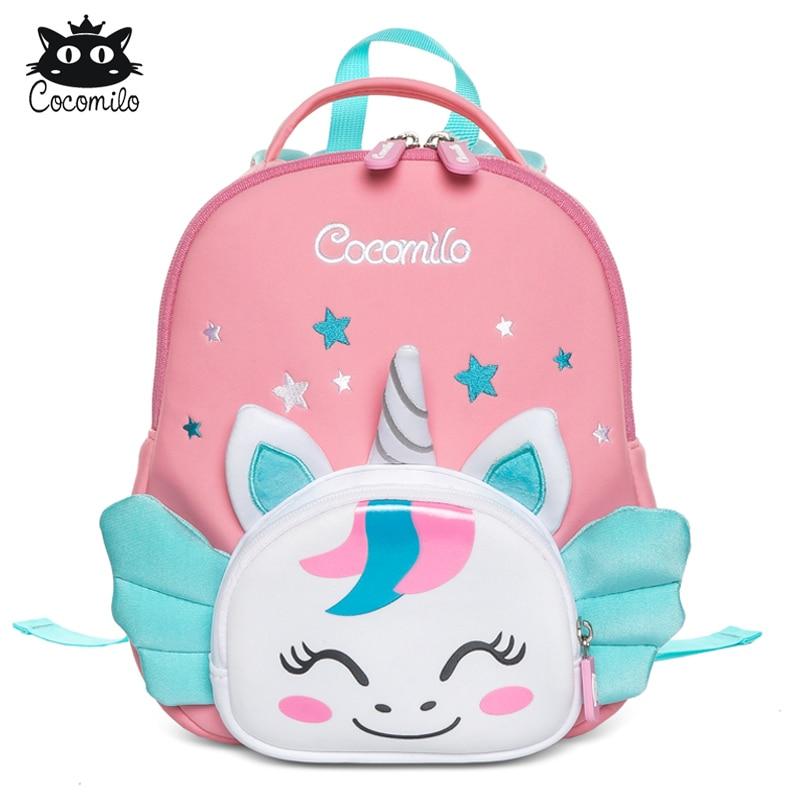 Cocomilo 3D Cartoon Unicorn Kids School Bag Kawaii Soft Pink Unicorn Cute Kindergarten Backpack Todd
