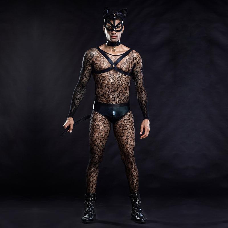 Lencería Sexy de gato negro para hombre