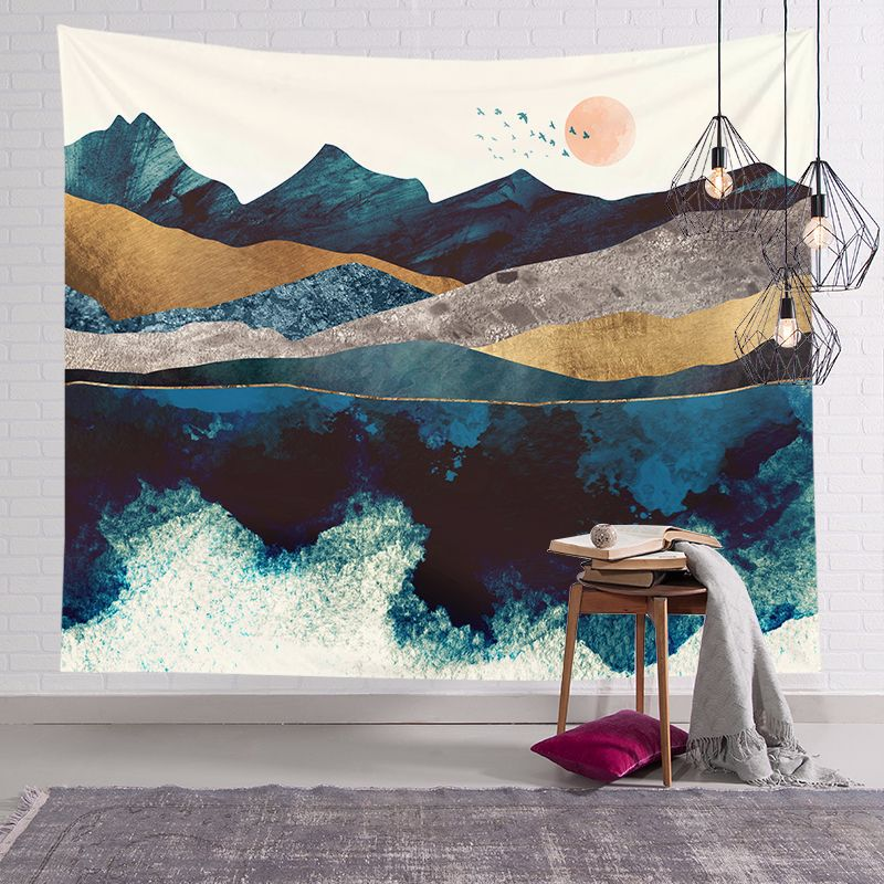 Estilo japonés tapiz de pared pintado abstracto montaña al atardecer Hippie paisaje tapicería decoración para paisajismo alfombra colgante para pared