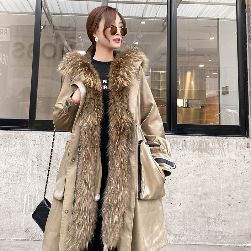 Autumn Winter Natural Real Fur Parka Raccoon Dog Fur Collar Women Jackets Long Fur Removable Rabbit Fur Lining Warm Coat  Female