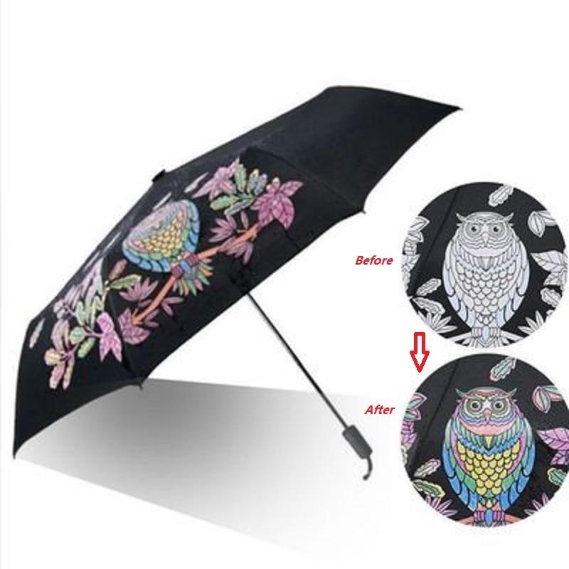 Cambio de Color búho 8 Ribs paraguas negro para mujer tres plegables Anti parasol UV paraguas lluvia para Mujeres Hombres