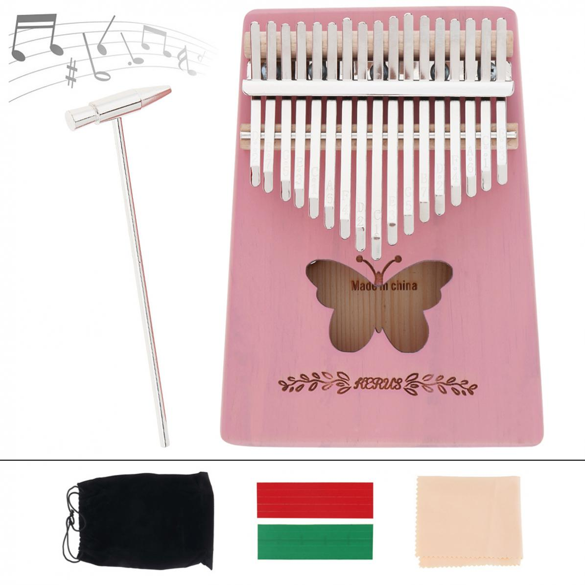 Thumb Piano 17 Key Kalimba Pink Solid Pine Wood Butterfly Sound Hole Thumb Piano Mbira Mini Keyboard Instrument enlarge