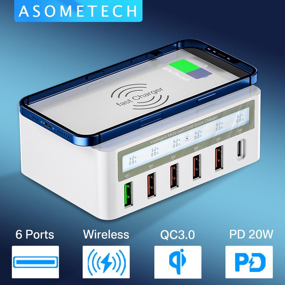 شاحن 100 وات سريع الشحن 3.0 USB سريع الشحن محطة PD شاحن لايفون 12 11 هاتف لوحي QI شاحن لاسلكي محول محور