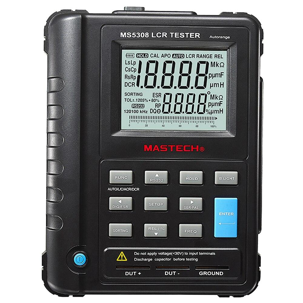 Mastech MS5308 portátil profesional Auto rango Digital LCR medidor inductancia capacitancia probador de resistencia 100Khz