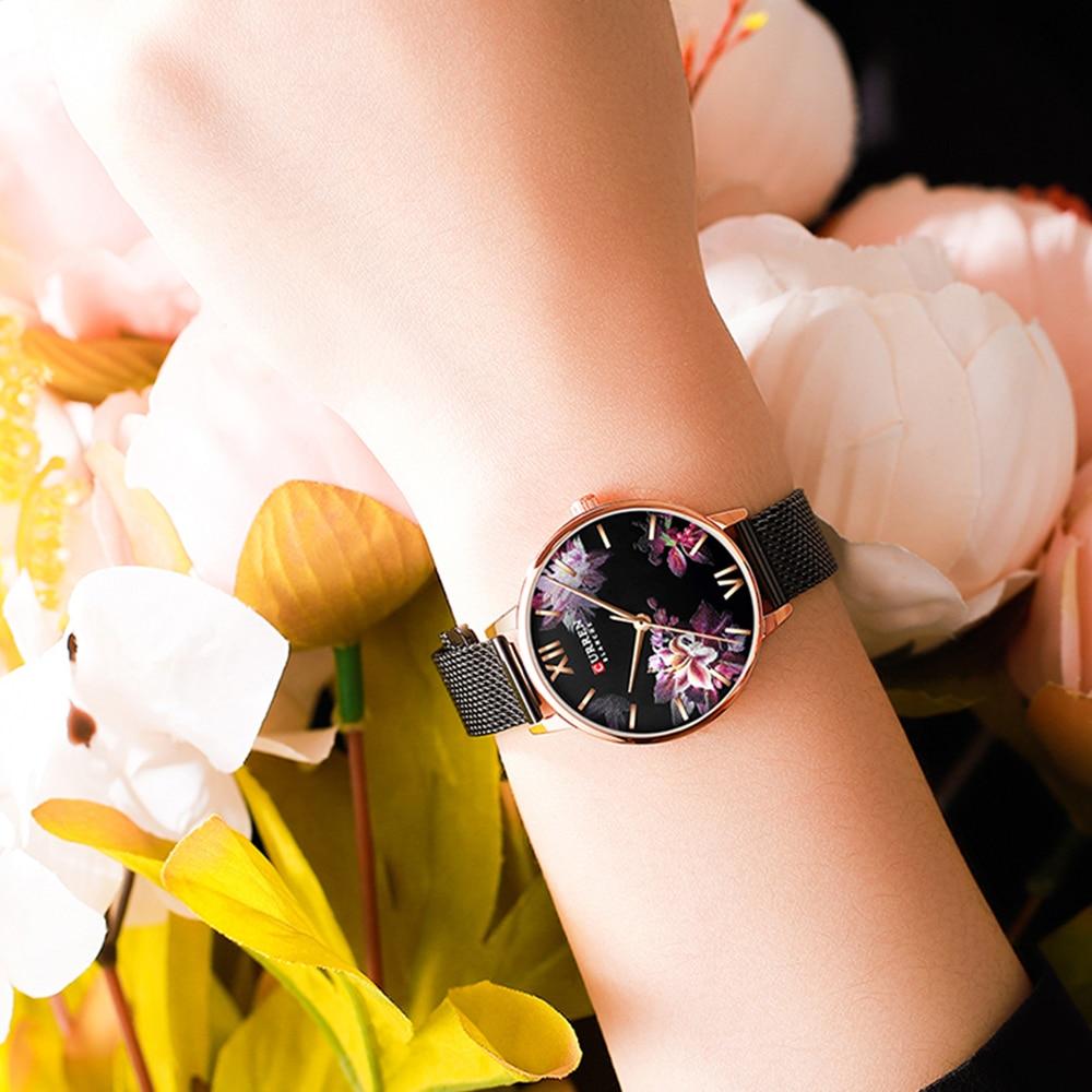 CURREN New Ladies Flower Watches Women Stainless Steel Bracelet Wristwatch Women's Fashion Quartz Clock reloj mujer Casual enlarge