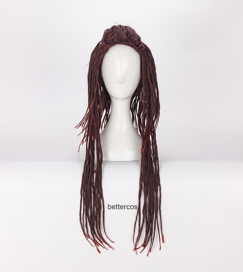 DMMd DRAMAtical Murder Mink Cosplay peluca largo oscuro estilo rojo trenzado resistente al calor Peluca de pelo sintético + tapa de la peluca