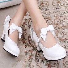 Lolita jk princess japanese sweet student bow court high-heeled women's shoes Bowknot Princess Kawaii Girl Women Shoes Vintage