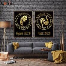 Conisi moderne noir Gloden zodiaque toile peinture Constellations affiche imprime mur Art 12 signes décor à la maison pour chambre