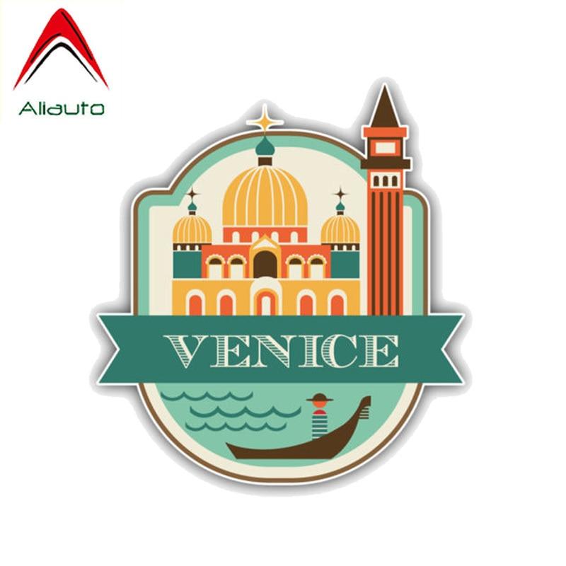 Aliauto divertido coche pegatina Venice City Italy accesorios de viaje PVC etiqueta cubierta rasguño para Peugeot Renault motocicleta, 13cm * 12cm