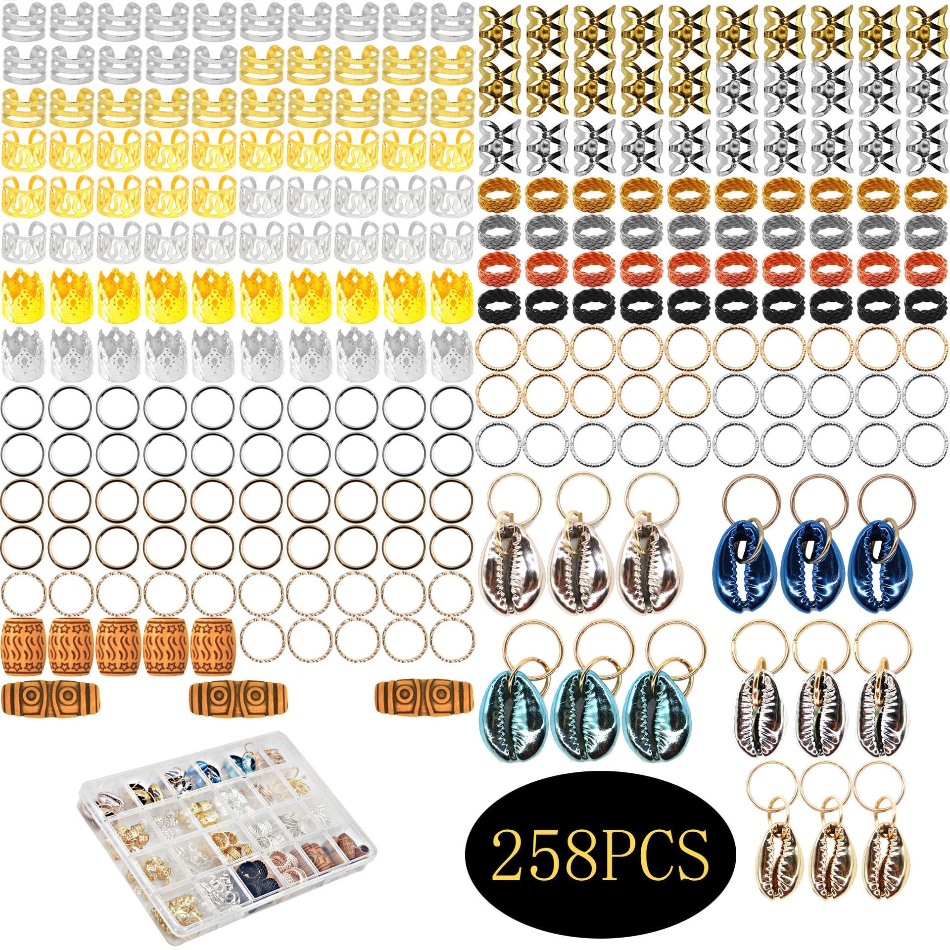 258pcs/Lot shells Hair Rings For Black Women Micro Hair Beads Braid Jewelry Spiral Metal Microlink Tube Charms
