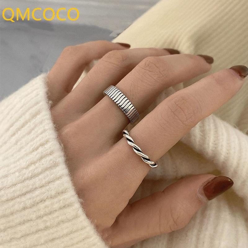 QMCOCO нестандартный дизайн 925 Серебряные кольца для женщин новые модные креативные геометрические серебряные женские ювелирные изделия пода...