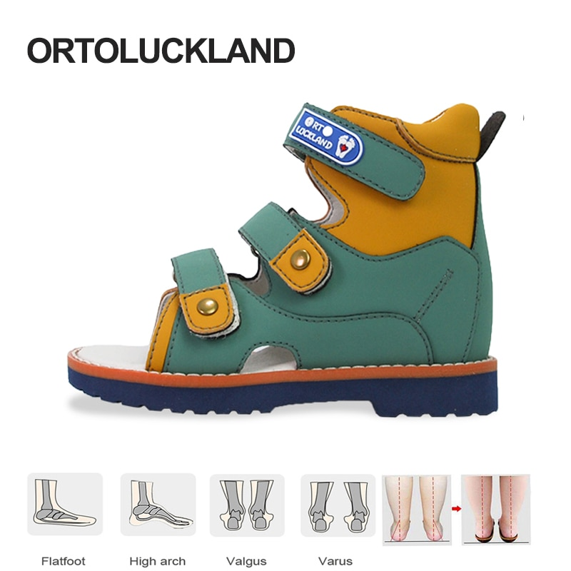 Ortoluckland الأطفال الصنادل الصيف الفتيان الطفل أحذية تقويم العظام للأطفال طفل مراهق موضة فلاتفوت الأحذية 2 سنة