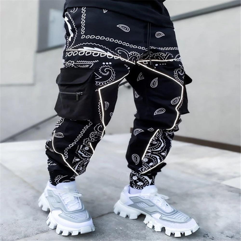 Men's printed cashew flowered halon pants men's 2021 Europe and America loose high street multi-bag cargo pants small leg pants