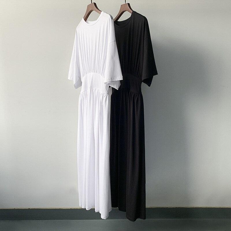 فستان نسائي عدد صغير من فستان خصر محبوك قطني طويل جديد للصيف أبيض وأسود 2 لون تنورة سوداء صغيرة ضيقة
