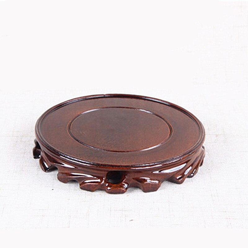 Color café de madera maciza raíz redondo tallado Base jarrón para maceta acuario tetera Base de Buda de piedra se soporte de madera
