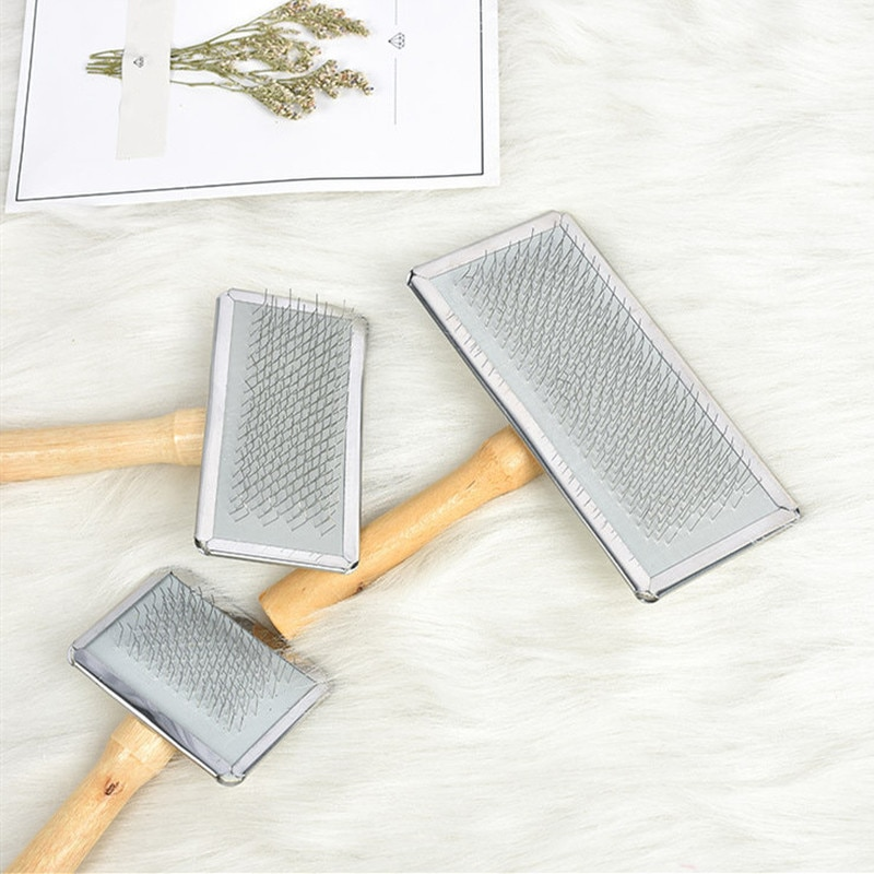 Pet Cat Grooming Needle Brush Dogs Hair Remover Brush Wood Puppy Big Dog Combs Pet Flea Comb Dog Shedding Comb Cat Supplies