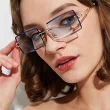Vintage Brown Square Sunglasses Women Luxury Brand Small Rectangle Sun Glasses Female Gradient Mirro