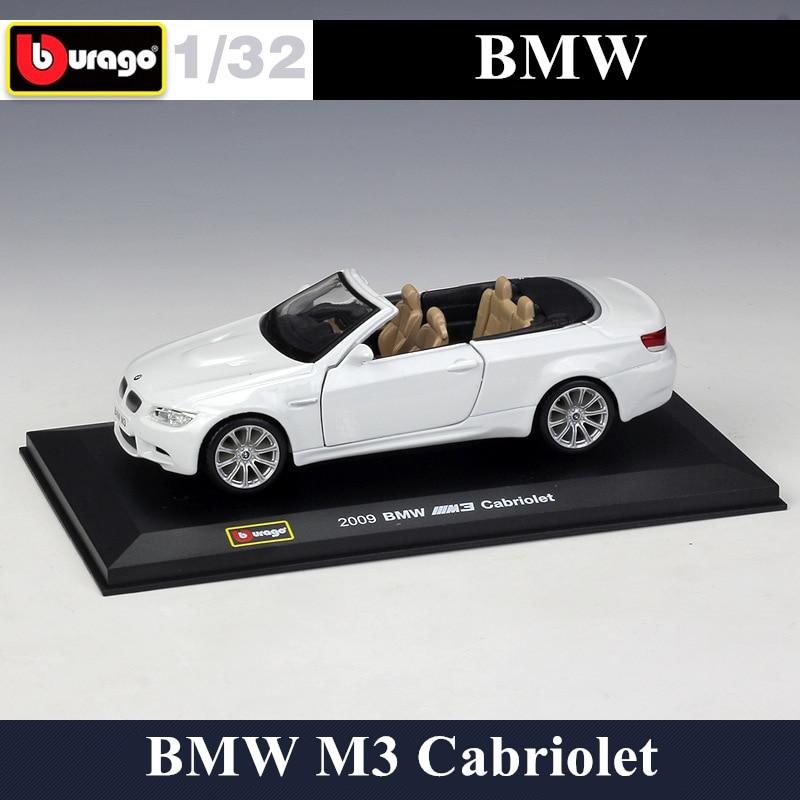 Модель автомобиля Bburago 1:32 BMW M3, модель кабриолета из сплава, оргстекл, пылезащитный дисплей, посылка, Коллекционирование подарков